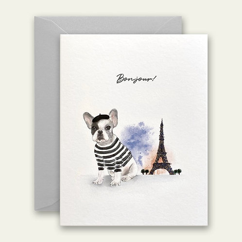 paris frenchie dog watercolor greeting card