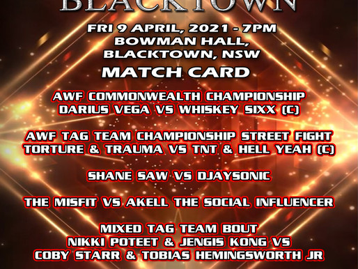 AWF Back In Blacktown 9 April 2021 Match Card Announced!