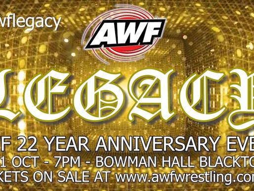 AWF Legacy New Date Fri 1 October at Bowman Hall Blacktown