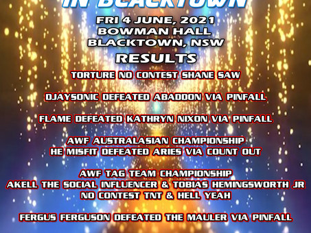 AWF Smackdown In Blacktown 4 June Results