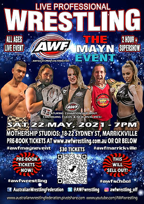 AWF Mayn Event 22 May Marrickville Poste