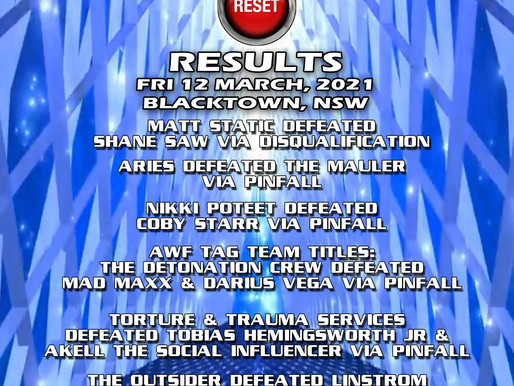 AWF Pro-Wrestling Reset Results from 12 March in Blacktown, NSW