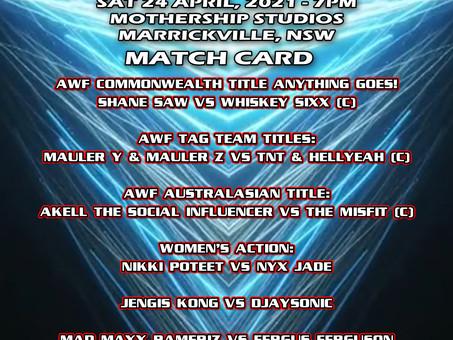 AWF Momentum Match Card for Sat 24 April at Mothership Studios Marrickville - Get your tix now!