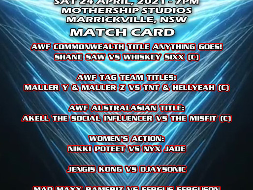 AWF Momentum Match Card for Sat 24 April at Mothership Studios Marrickville - Get your tix now!
