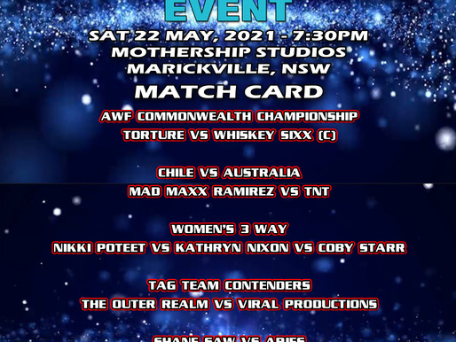 AWF The Mayn Event Digital Event Available for viewing Now for $15 at AWF Pivoshare -Please Support!