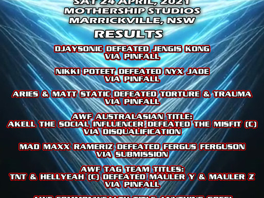 AWF Pro-Wrestling Momentum Event Results from Sat 24 April at Mothership Studios, Marrickville, NSW