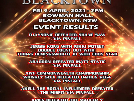 AWF Back In Blacktown Fri 9 April Live Event Results