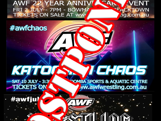 AWF Live Events for July Postponed Due to Covid in NSW