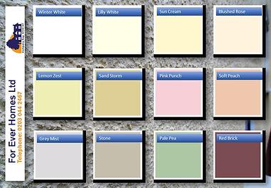 For Ever Homes Ltd standard colour chart