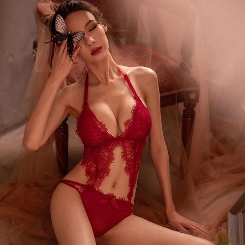 Trikini de encaje rojo - Talla S