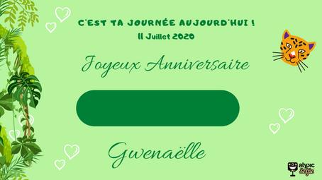 Accueil - ANNIVERSAIRE GWENAELLE JUILLET