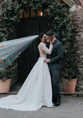 Real potted wedding arch and topiary trees
