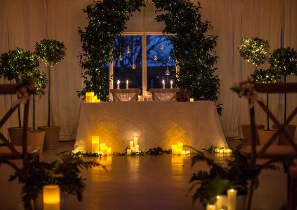 Twilight wedding ceremony
