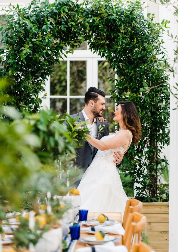 Real evergreen Star Jasmine curved wedding arch