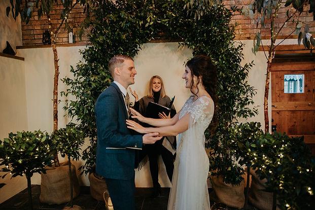jasmine arch, euclyptus trees, bay trees with fairy lights, aisle decor, wedding arch