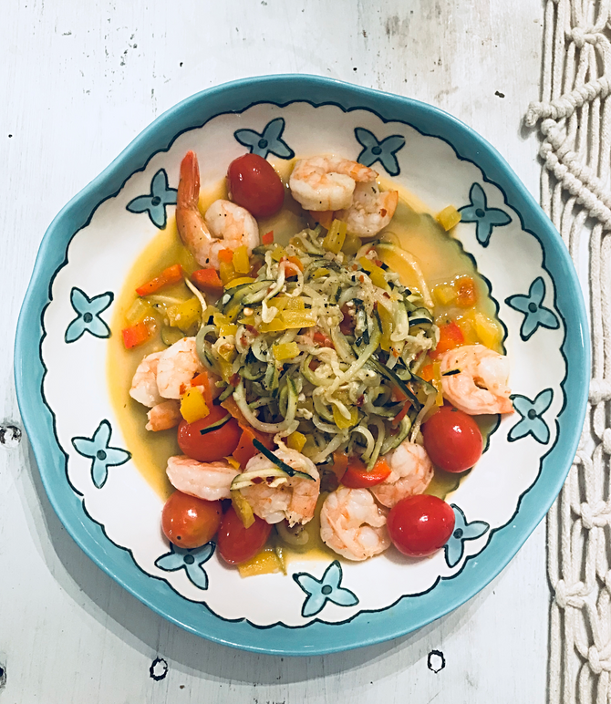 Zucchini and Pepper Shrimp Pasta