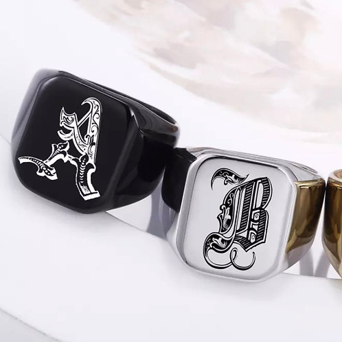 2pcs Couples Initial Letter Ring