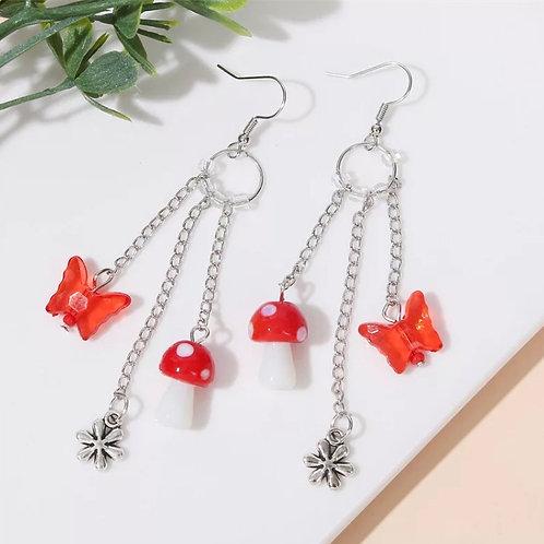 Mushroom & Butterfly Earrings