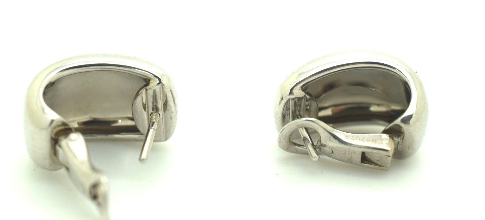 Cartier Nouvelle Vague 18k White Gold Wide Huggie Post Clip On Earrings