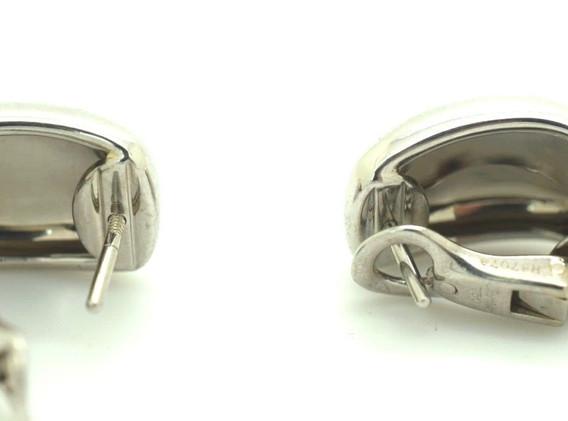 Cartier Nouvelle Vague 18k White Gold Wide Huggie Post Clip On Earrings