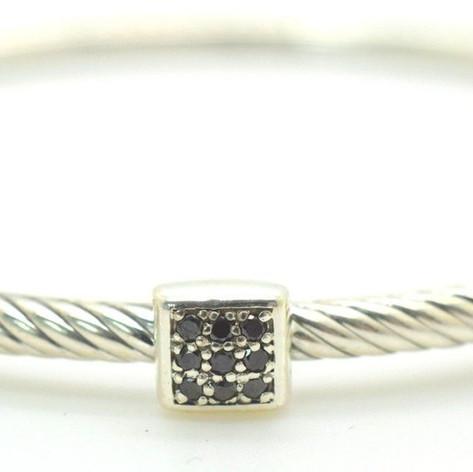 David Yurman Black Diamond Cable Bangle .9 Ct .925 Sterling Silver Square Shape