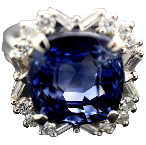AGL Certified Ceylon Sapphire 16.44 Carat Diamond Ring No Heat