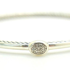 David Yurman Diamond Cable Bangle .7 Ct .925 Sterling Silver Oval Shape