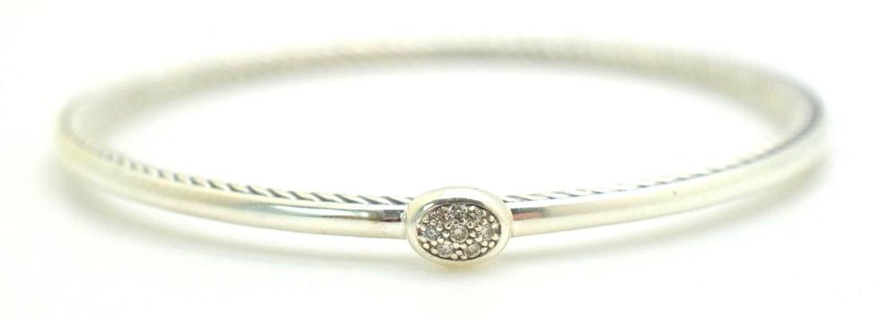 David Yurman Diamond Cable Bangle .7 Ct .925 Sterling Silver Oval Shape