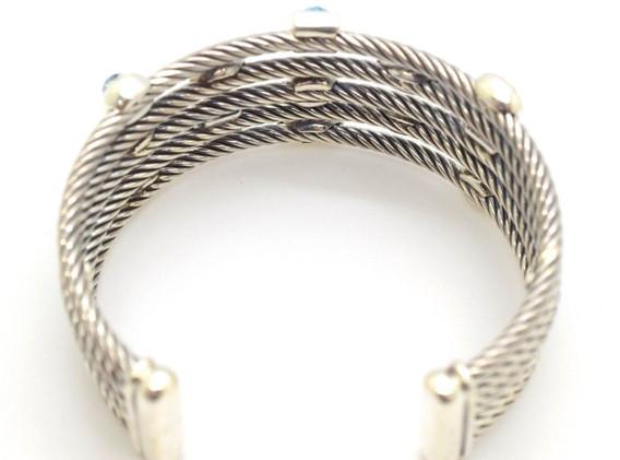 David Yurman Confetti Cuff Diamond,Topaz, Amethyst .925 Sterling Silver 5 Row