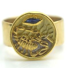 Vintage Scorpion Sapphire Ring 18k Yellow Gold 12.5 Grams Size 10