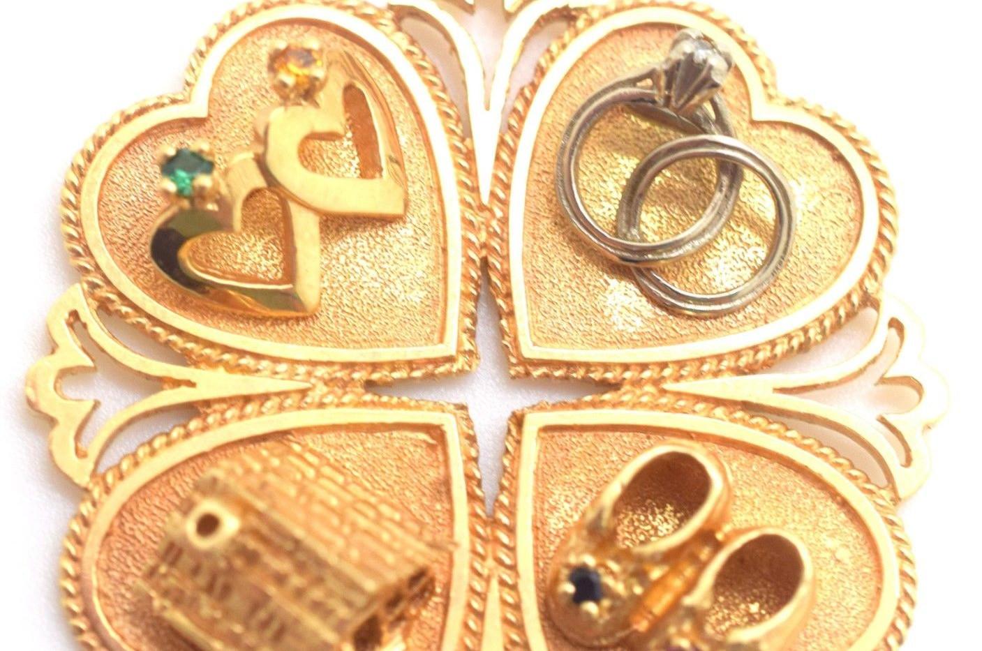 Vintage Family Home Love Pendant 14k Yellow Gold 14.7 Grams