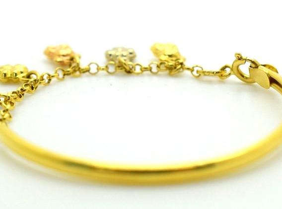 Vintage Charm Bracelet 18k Yellow Gold Teddy Bears & Clovers 6.02 Gram