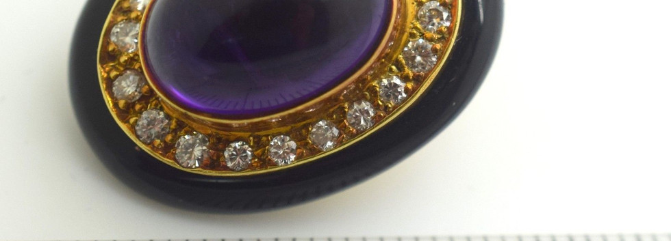 Estate Lagos Amethyst and Diamond Earrings 18K Yellow Gold 1.10 Tcw