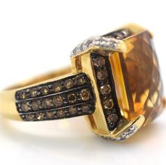 Le Vian Citrine Chocolate & Vanilla Diamond Ring 14k Yellow Gold Size 4.5
