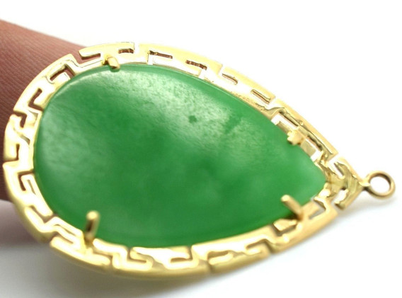 Vintage Jadeite and Ruby Chinese Dragon Themed Pendant 14k Yellow Gold 6.1 Gram