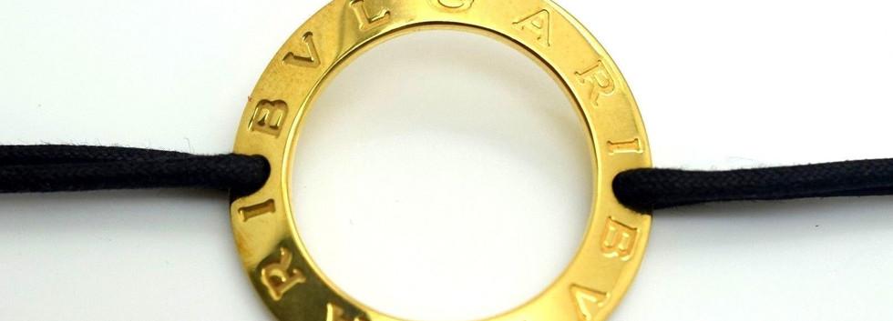 BVLGARI 18k Yellow Gold Large Wave Circle Charm Double Leather Black Bracelet