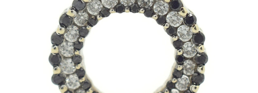 Vintage Black and White Diamond Pendant Circular Shape Appx. 1.50 TCW