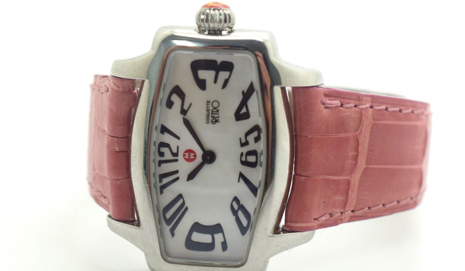 Michele Watch Coquette Retro Pink Alligator Skin Model 71-880 Serial QR01916