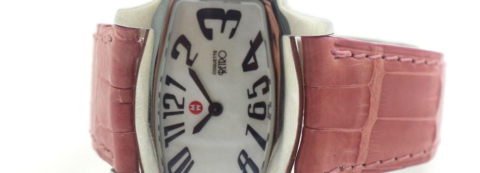 Michele Watch Coquette Retro Pink Alligator Skin Model 71-880 Serial QR01916