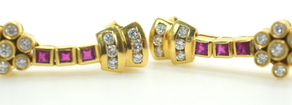 Vintage Ruby and Diamond Dangle Earrings 22k Yellow Gold