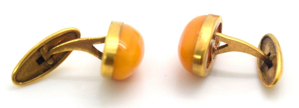 Vintage Amber Cuff link and Tie Clip Set