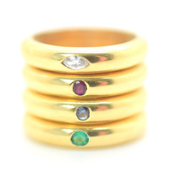 Vintage Stackable 18k Gold Rings (4) Diamond Sapphire Emerald Ruby Size 7.25