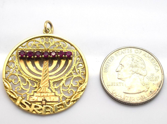 Estate Menorah Spinning Pendant Turquoise and Rubies Isreal 14k Yellow Gold