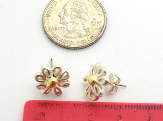 Tiffany & Co Paloma Picasso Daisy Earrings 18k Gold & .925 Sterling Silver