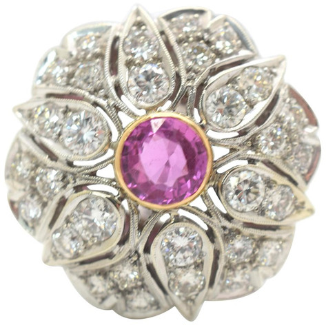 Pink Sapphire and Diamond Ring 14 Karat White Gold 4.67 Carat