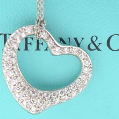 Tiffany & Co Elsa Peretti Diamond Open Heart Platinum Pendant and Chain