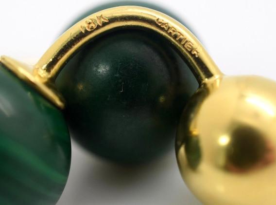 Vintage Cartier 18k Malachite Cuff Links