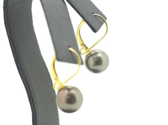 Vintage Tahitian Pearl Earrings 14k Yellow Gold Omega Back