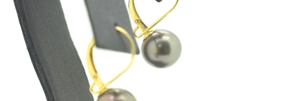 Vintage Tahitian Pearl Earrings 14k Yellow Gold Omega Back