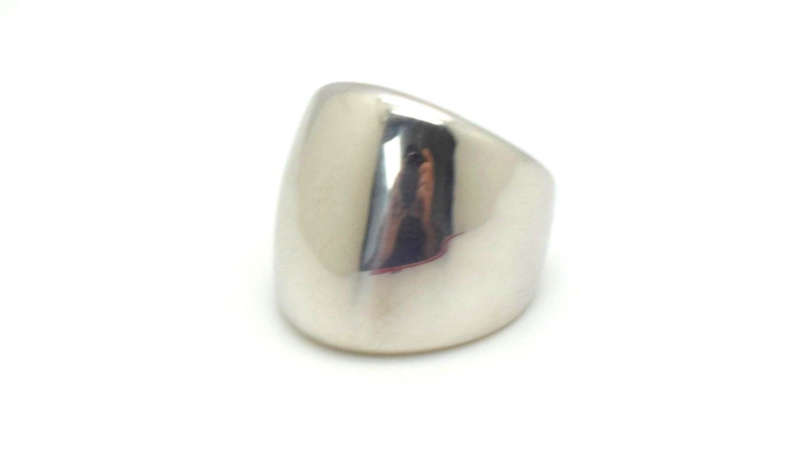 Milor Italy Dome Ring 18k White Gold Resin Filled Size 8.75